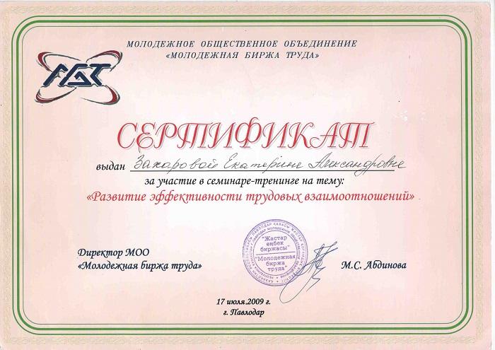 Сертификат Екатерины Лебедь Развитие эффективности трудовых взаимоотношений