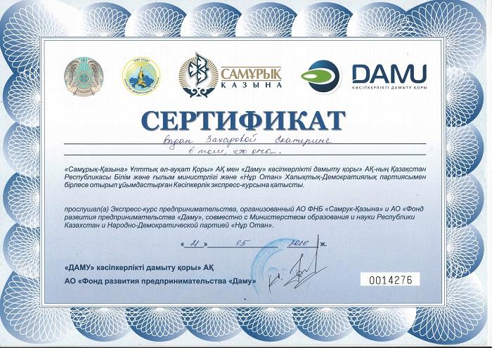 Сертификат Екатерины Лебедь Экспресс-курс предпринимательства